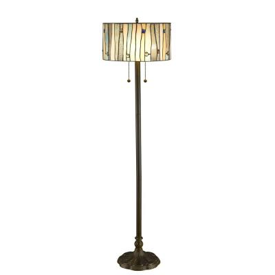 58 in. Height Floor and 21 in. Height Table Lamp Set Contemporary Blue, White and Yellow Stained Glass Shade