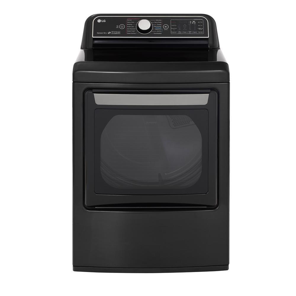 7.3 cu ft Ultra Large Smart Front Load Gas Dryer with EasyLoad Door, Sensor Dry & TurboSteam in Black Steel, ENERGY STAR