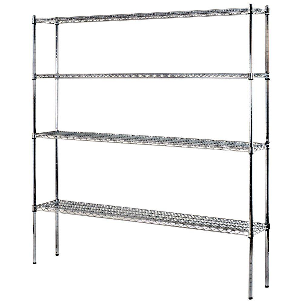 Sandusky 74 in. H x 72 in. W x 12 in. D 4-Shelf Heavy Duty Wire ...