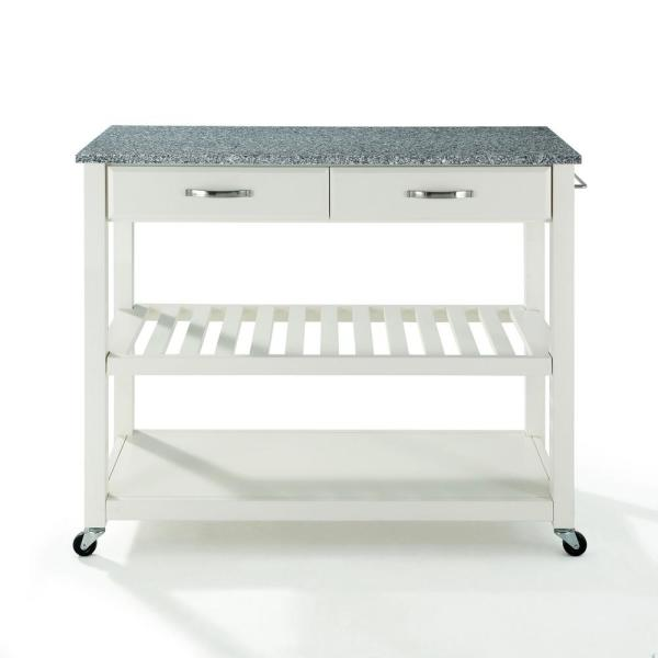 Crosley White Kitchen Cart With Granite Top KF30053WH