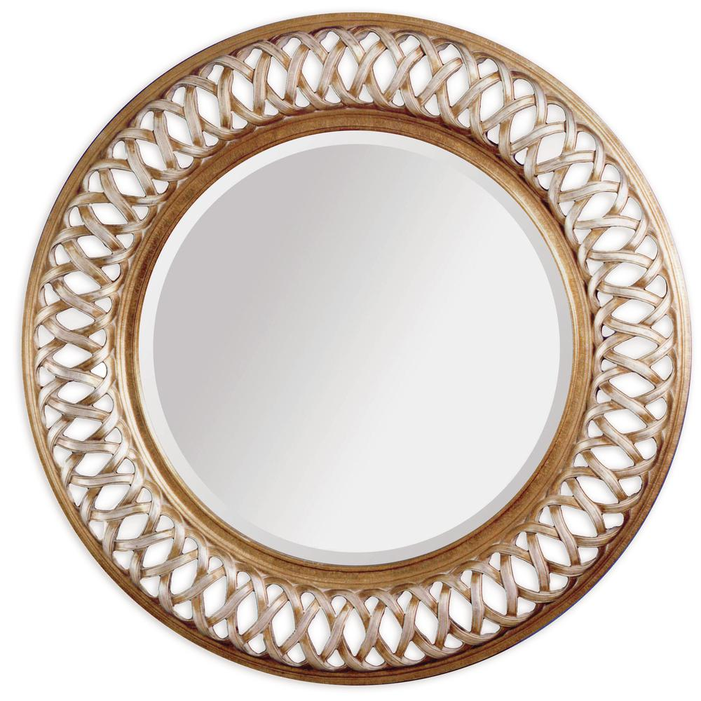 BASSETT MIRROR COMPANY Alissa Decorative Wall Mirror The Bassett Mirror 6357-711EC is constructed using wood and  woven metal framing. It features silver leafing and a gold-rub finish. This piece brings a simple elegance to any room.