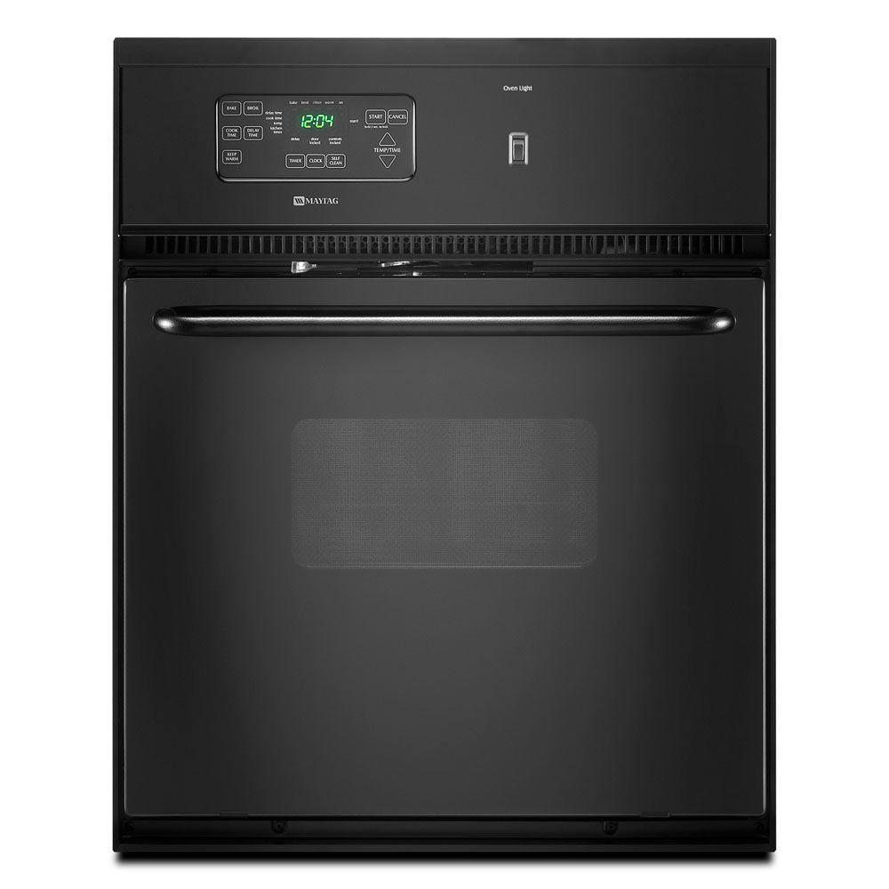 Maytag 24 in. Single Electric Wall Oven Self-Cleaning in Black