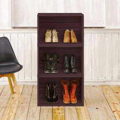 Blox System Venice Eco zBoard Tool Free Assembly Stackable 3-Cubby Modular Bookcase Storage Shelf in Espresso Wood Grain