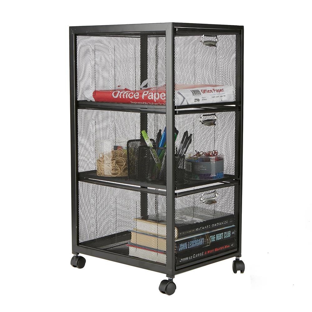 Mind Reader 3-Tiered Drawer Cart, Office Cart, Metal
