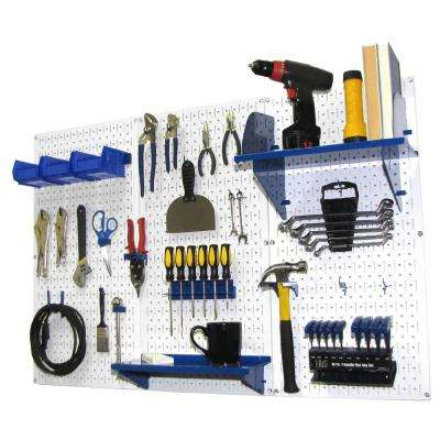 32 in. x 48 in. Metal Pegboard Standard Tool Storage Kit with White Pegboard and Blue Peg Accessories