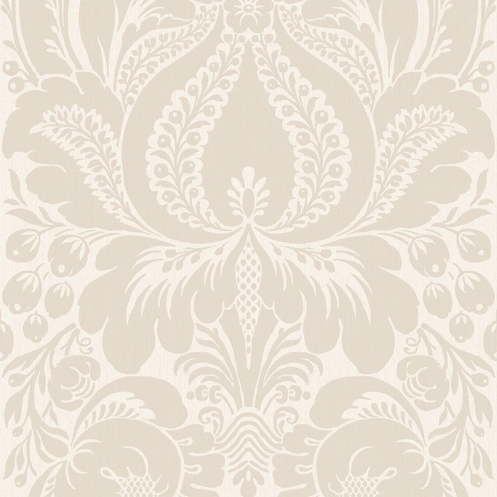 The Wallpaper Company 56 sq. ft. Greige Large Scale Damask Wallpaper