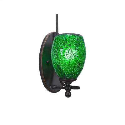 1-Light Dark Granite Sconce with Green Ribbed Glass