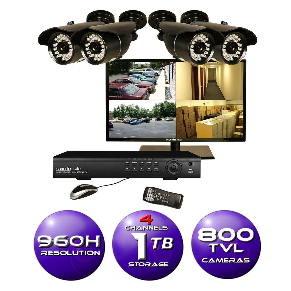 Security Labs 4-Channel 960H Surveillance System with 1TB HDD and (4) 800TVL Cameras and 19 in. LED HD Monitor