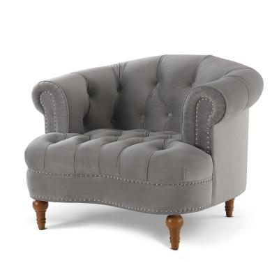 La Rosa Opal Grey Victorian Tufted Accent Chair