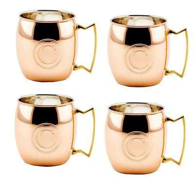 Monogram C 16 oz. Solid Copper Moscow Mule Mugs (Set of 4)