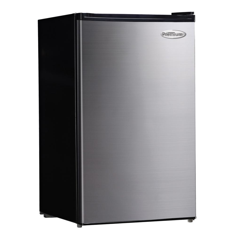 4.4 cu. ft. Mini Refrigerator in Black with Stainless Steel Door