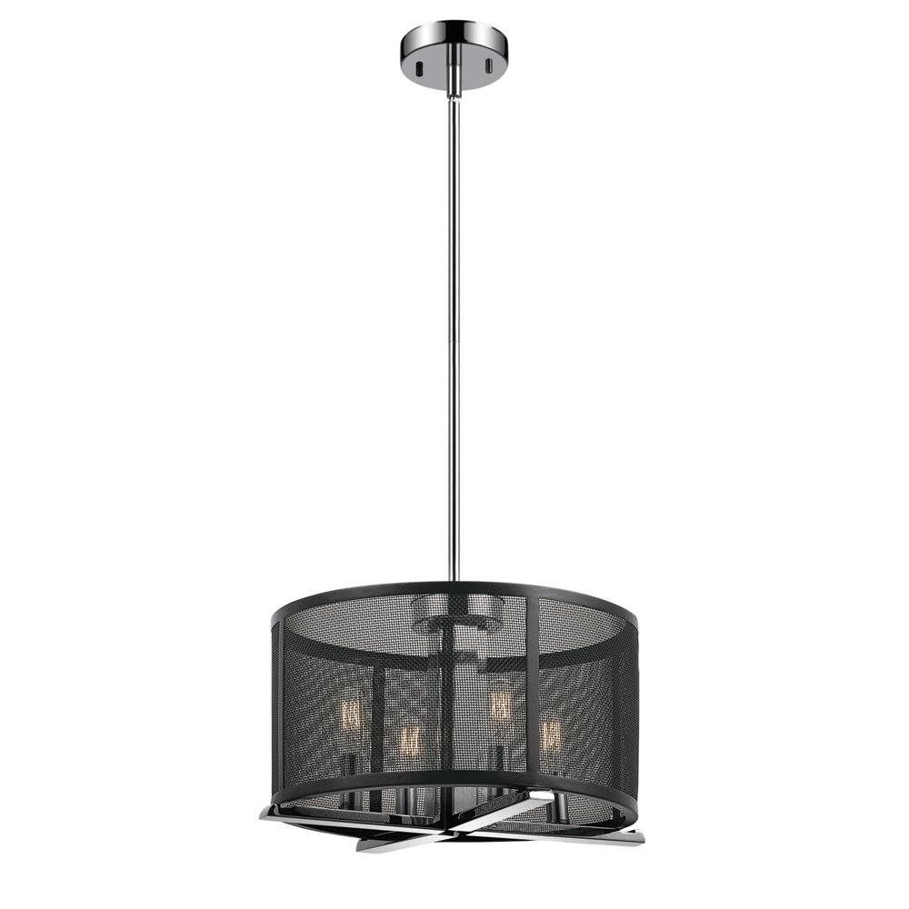Globe Electric Aliya 4 Light Matte Black Mesh Cage Chandelier