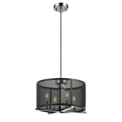 Aliya 4-Light Matte Black Mesh Cage Chandelier