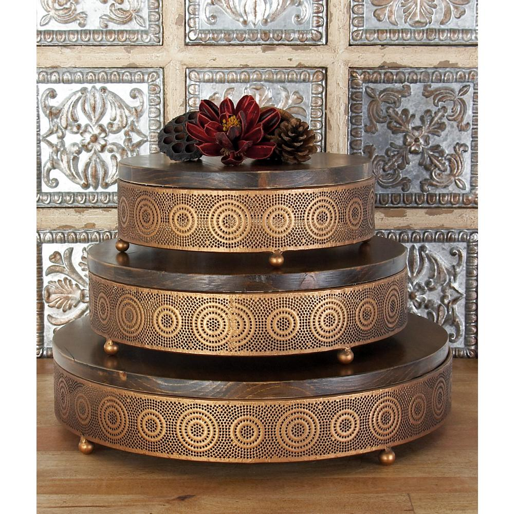 Metallic Copper Round Decorative Trays with Circular Details (Set of 3)