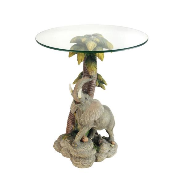 a52c757a4 24 in. Multi Colored Glass Top Elephant End Table K-0728 - The Home ...
