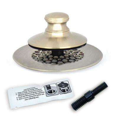 2.875 in. SimpliQuick Push Pull Bathtub Stopper, Grid Strainer Silicone and Composite Pin - Nickel