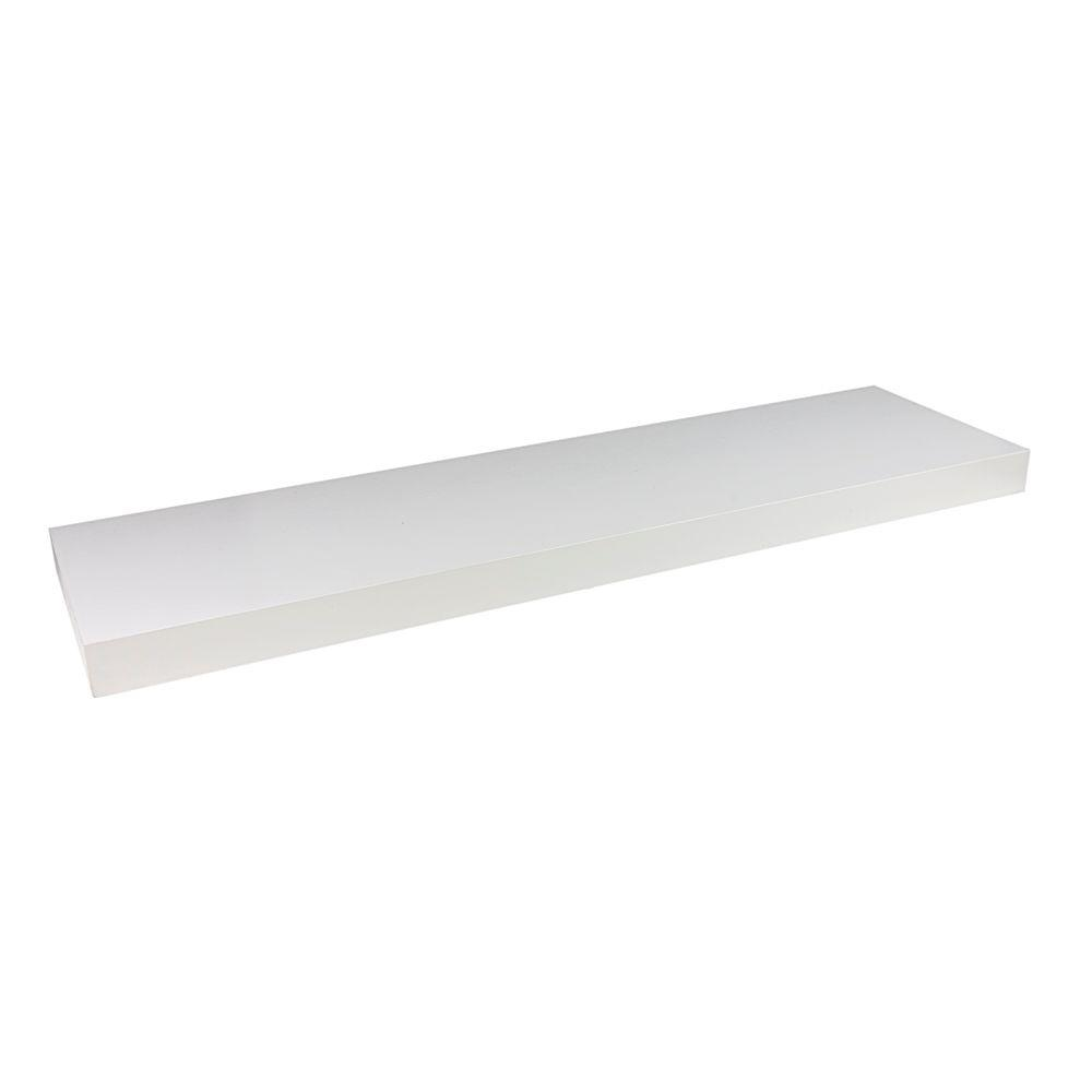 Wallscapes 10 in. x 1-3/4 in. White Wood Veneer Straight Floating ...