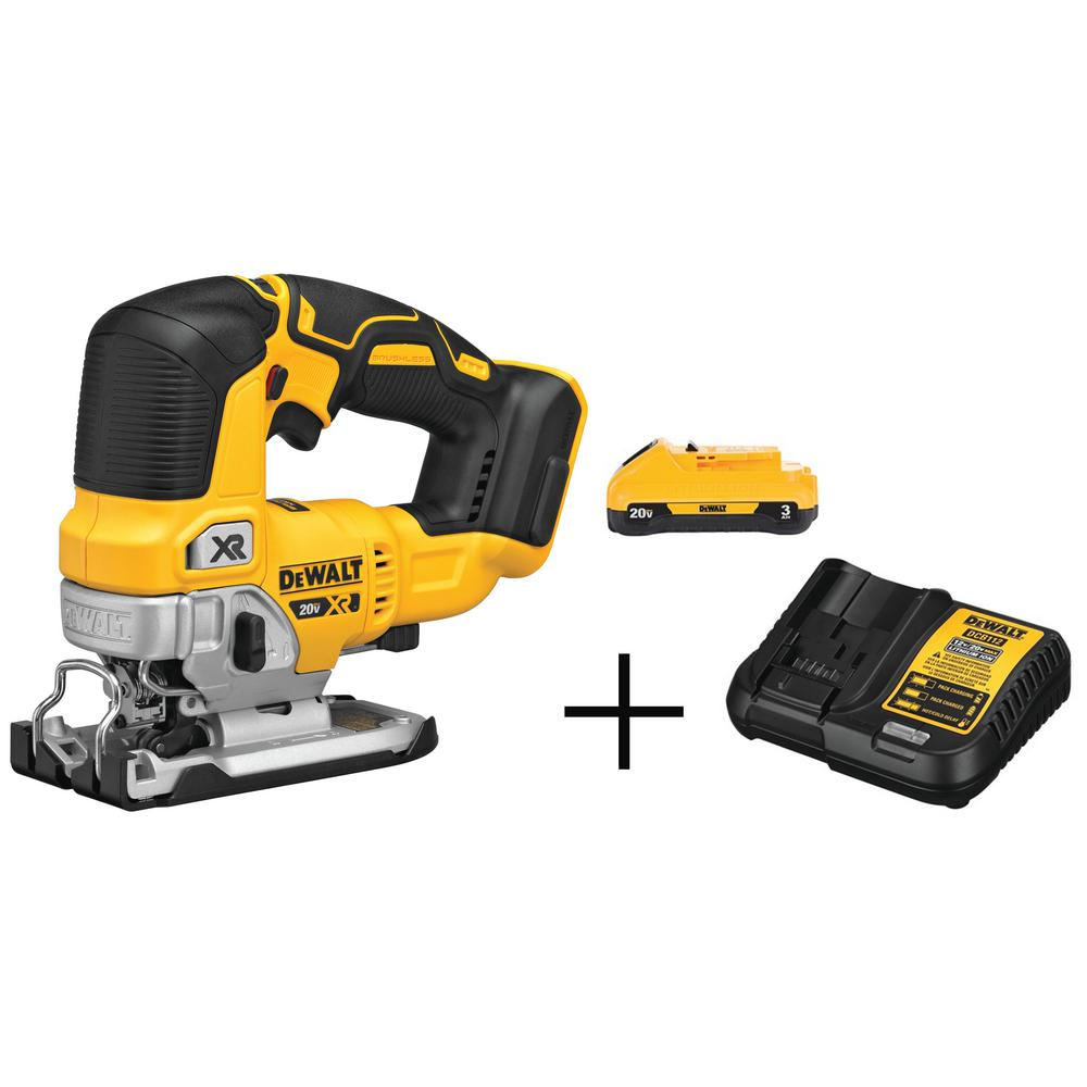 DEWALT 20-Volt MAX Lithium-Ion Brushless Cordless Jigsaw With Bonus Battery Pack 3.0 Ah and Charger