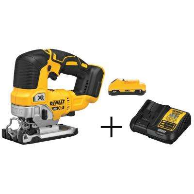 20-Volt MAX Lithium-Ion Brushless Cordless Jigsaw With Free Battery Pack 3.0 Ah and Charger
