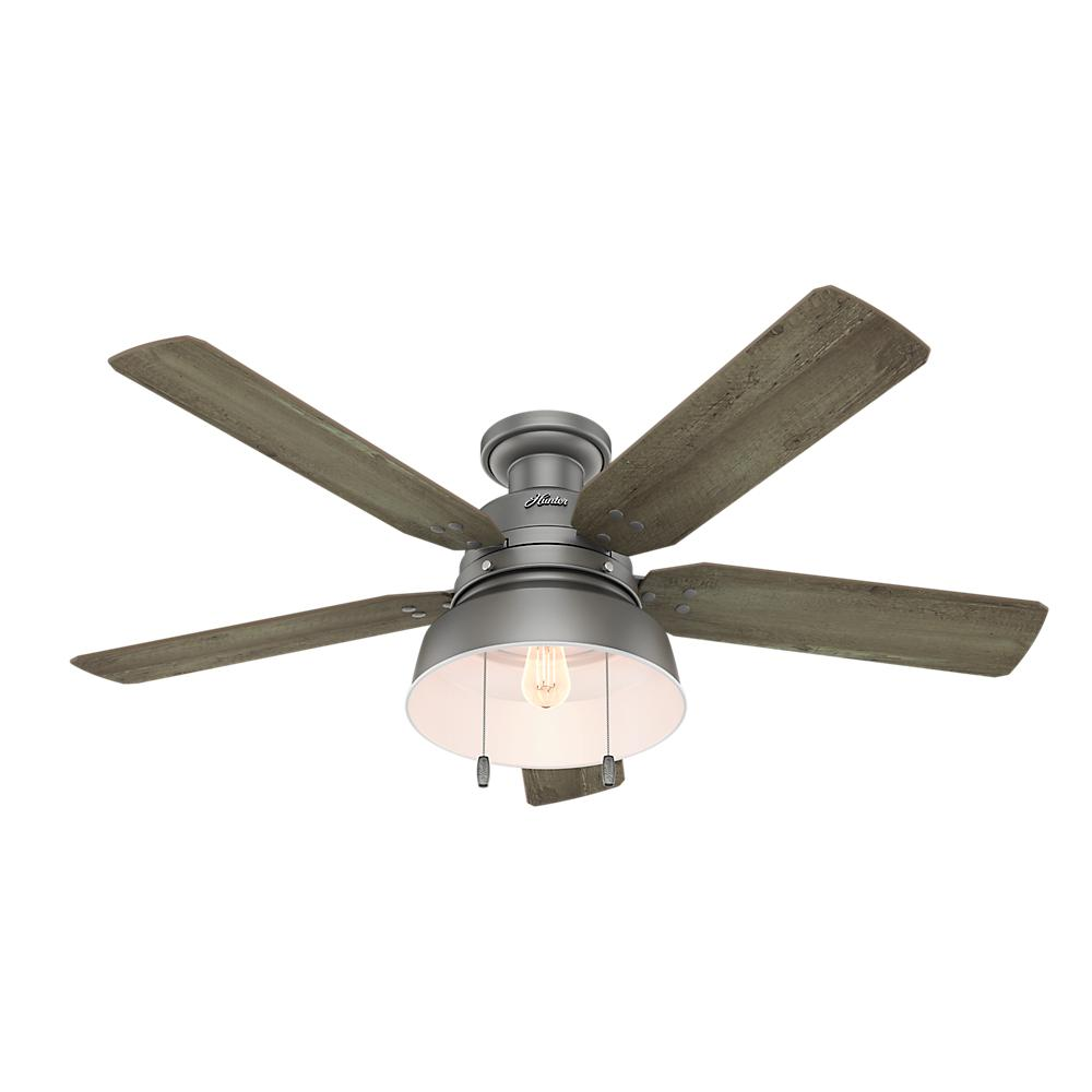 Hunter mill valley 52 in led indooroutdoor low profile matte led indooroutdoor low profile matte silver ceiling fan mozeypictures Image collections