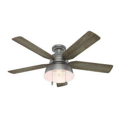 Mill Valley 52 in. LED Outdoor Low Profile Matte Silver Ceiling Fan
