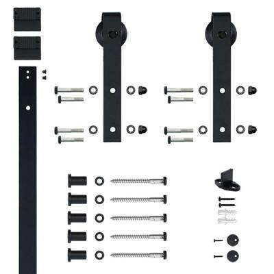 Hook Strap Black Rolling Barn Door Hardware Kit with 3 in. Wheel