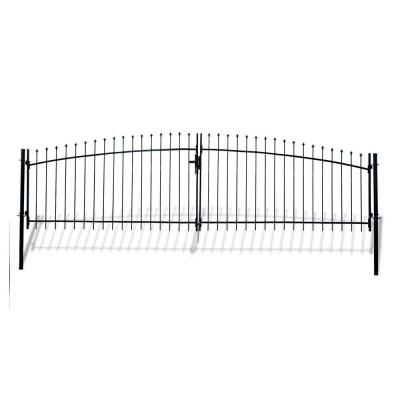 Athens Style 15 ft. x 5 ft. Black Steel DIY Dual Swing Driveway Fence Gate