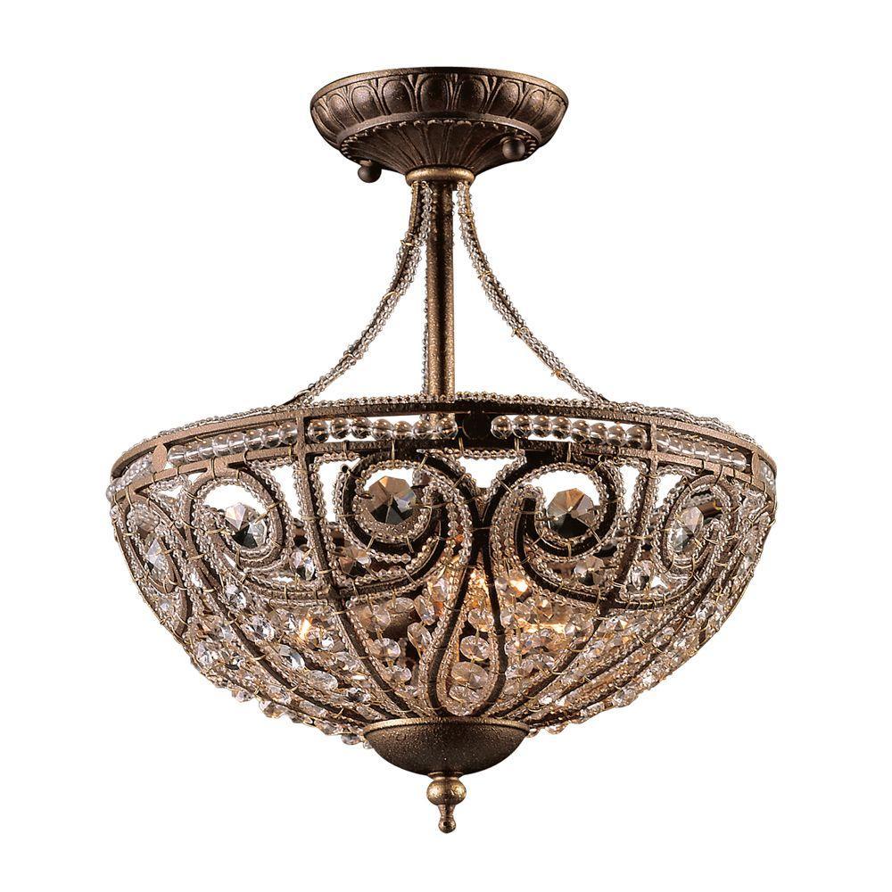 Elizabethan 3-Light Dark Bronze Ceiling Semi-Flush Mount Light