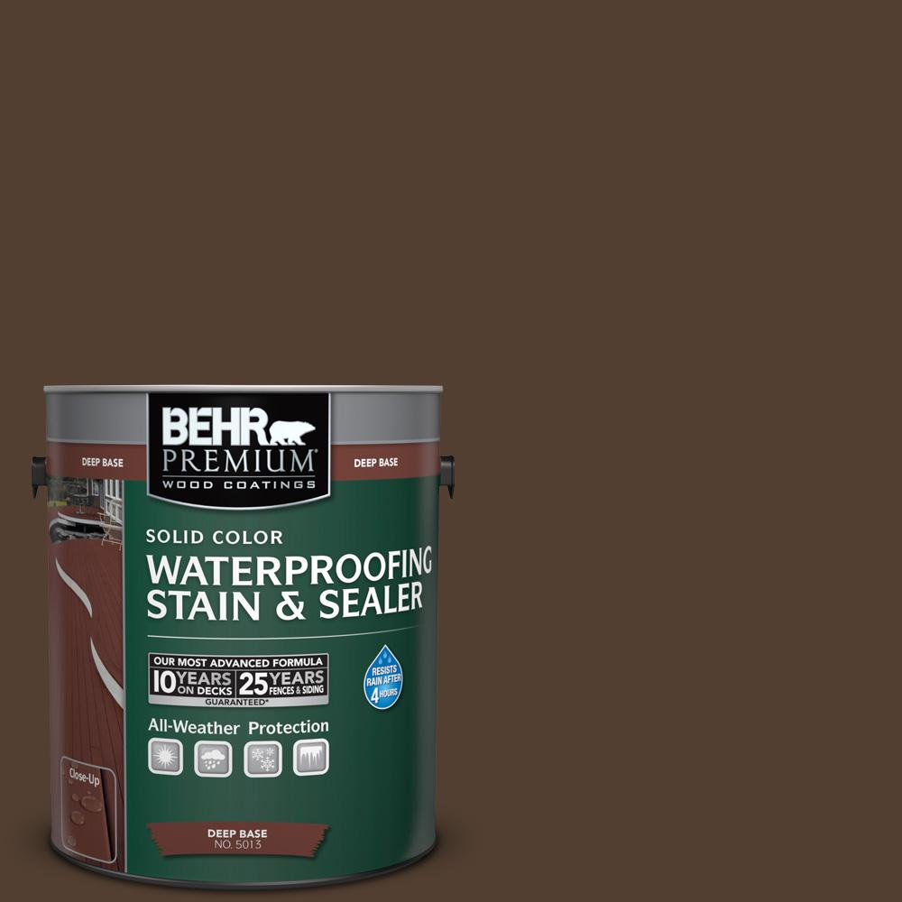 Behr Premium 1 Gal Sc 111 Wood Chip Solid Color Waterproofing Exterior Wood Stain And Sealer
