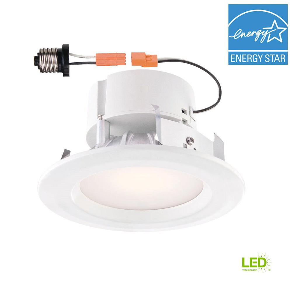 Commercial Electric 4 In White Integrated Led Recessed Trim