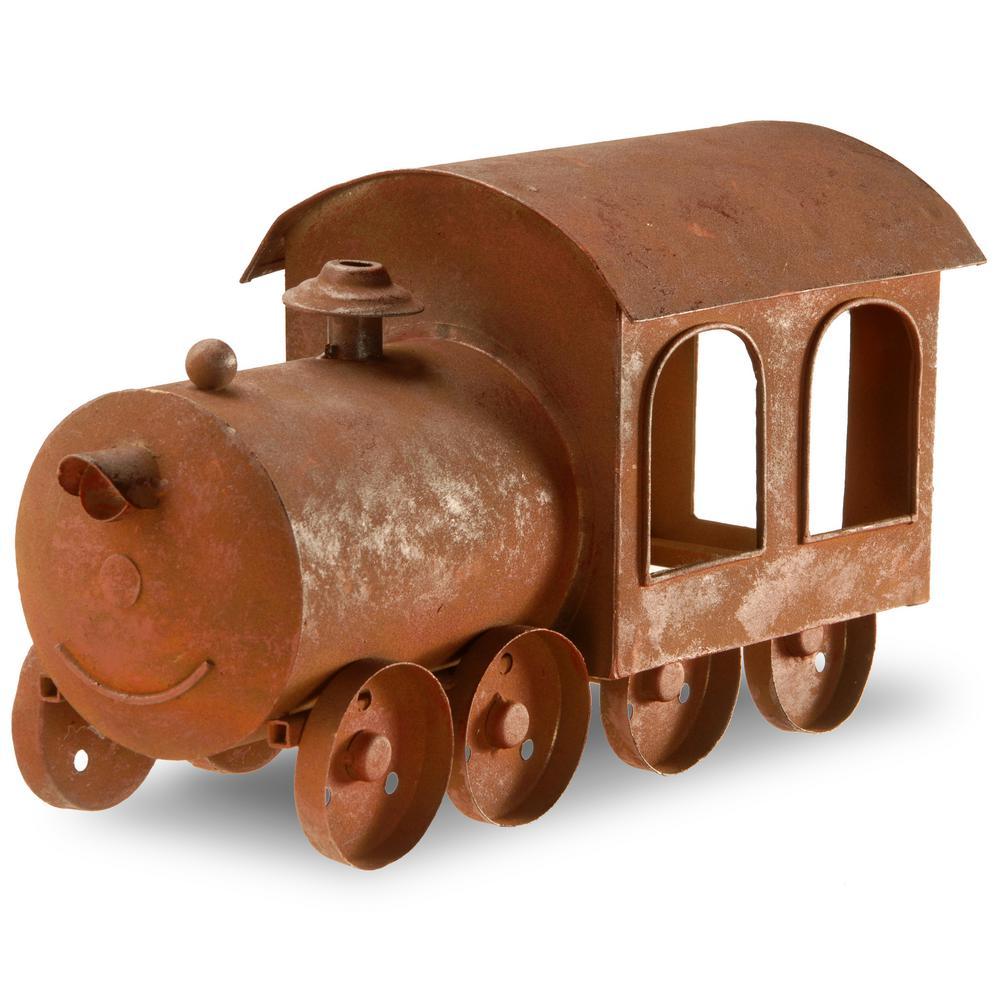 14 in. Metal Train Lawn Ornament