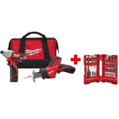 M12 12-Volt Lithium-Ion Cordless Impact Driver/HACKZALL Combo Kit (2-Tool) with SHOCKWAVE Driver Bit Set (45-Piece)