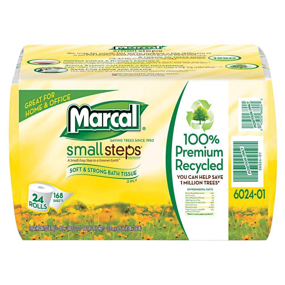 Marcal Small Steps Grab'n'Go 4.3 in. x 3.66 in. 100% Recycled Bath Tissue 2-Ply (24-Pack)