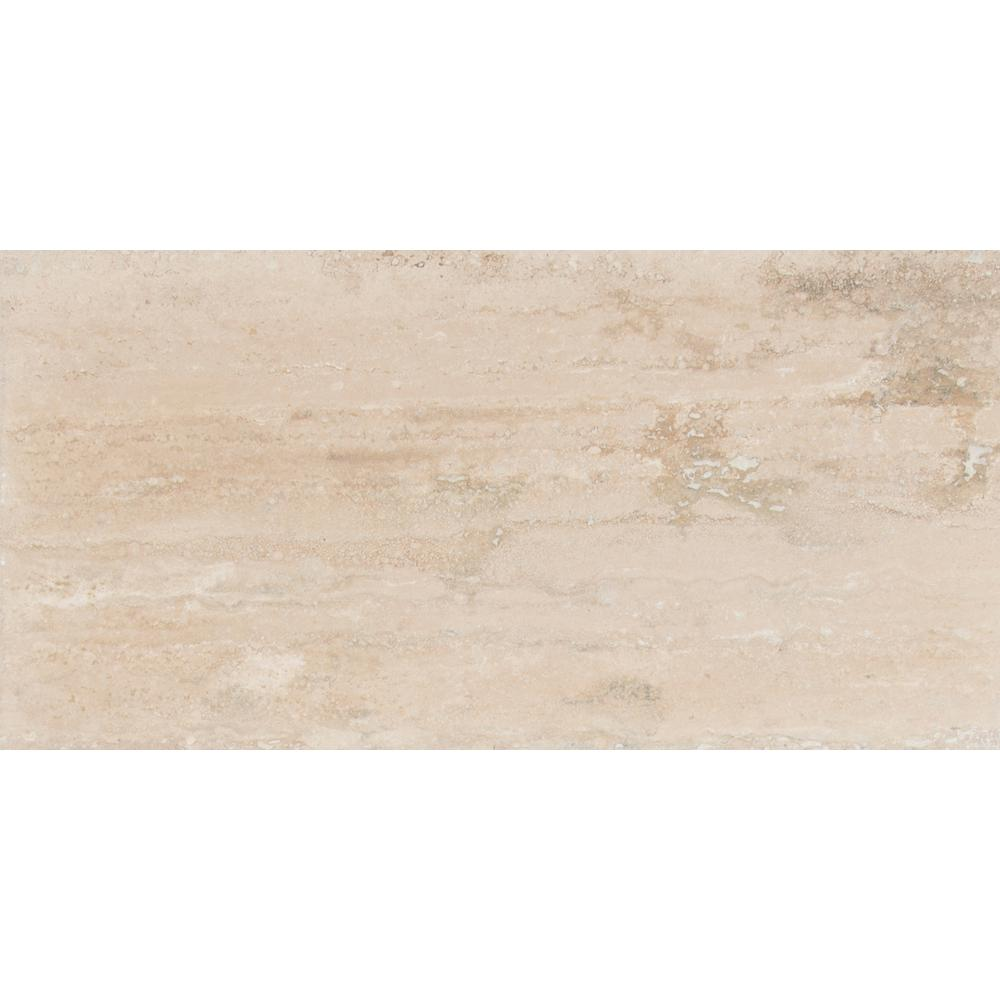 Msi Roman Vein Cut 12 In X 24 Polished Travertine Floor And Wall Tile 10 Sq Ft Case