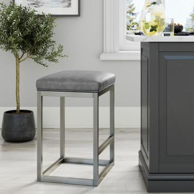 Nelson 24 in. Gray Leather Cushion and Stainless Steel Frame Metal Bar Stool