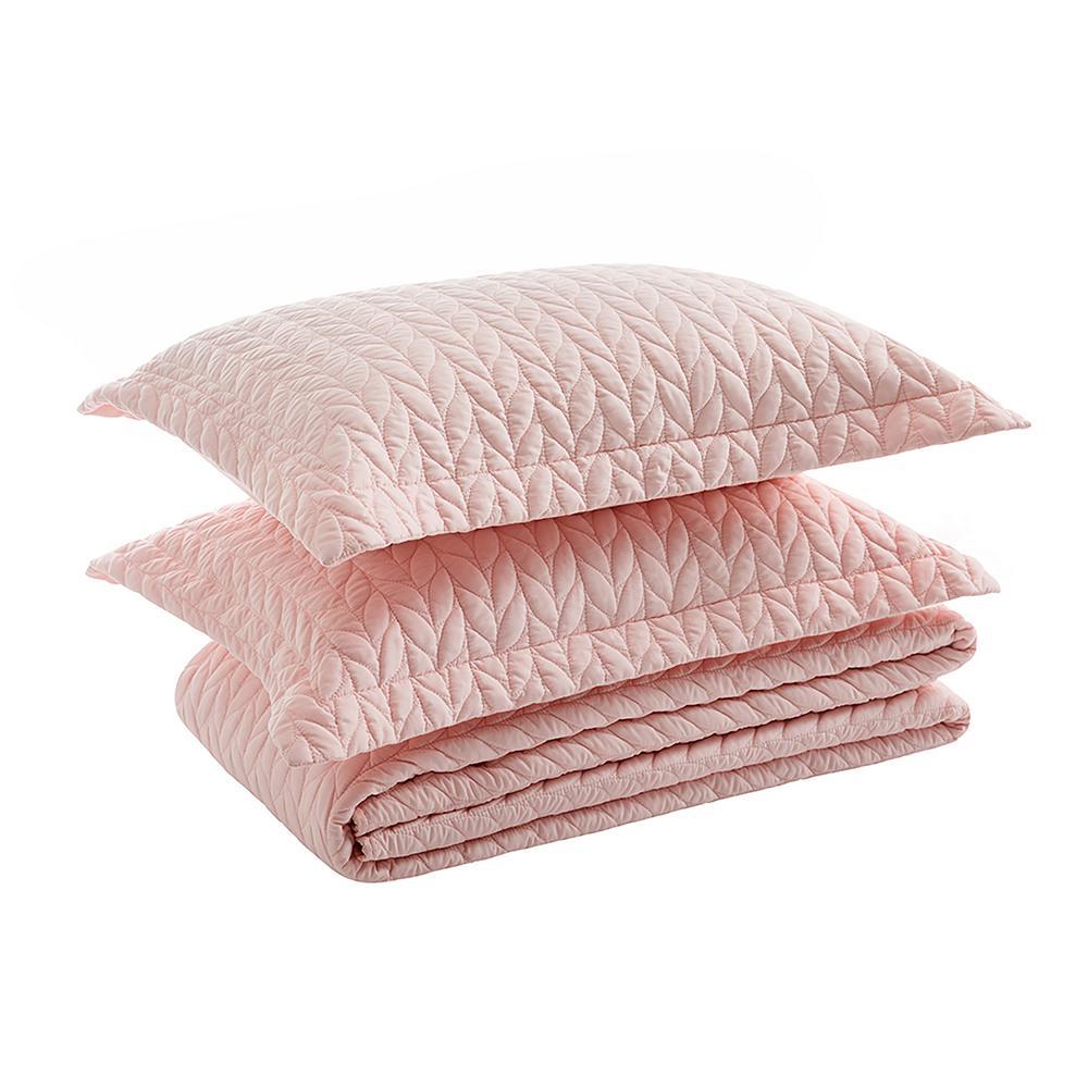 3-Piece Pink Quilted Microfiber King Comforter Set (1x Comforter, 2x Pillow Shames)