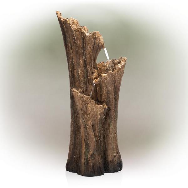 Rustic 3-Tier Tree Bark Fountain with LED Lights