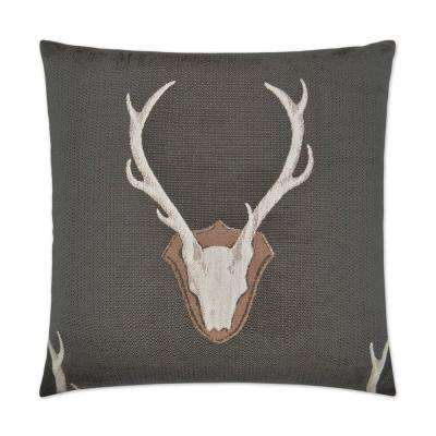 Uncle Buck Grey Feather Down 24 in. x 24 in. Standard Decorative Throw Pillow