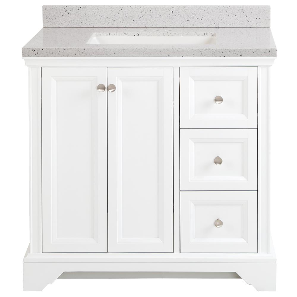 Home Decorators Collection Stratfield 37 in. W x 22 in. D Bathroom Vanity in White with Solid Surface Vanity Top in Silver Ash with White Sink