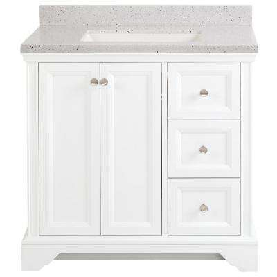 Stratfield 37 in. W x 22 in. D Bathroom Vanity in White with Solid Surface Vanity Top in Silver Ash with White Sink