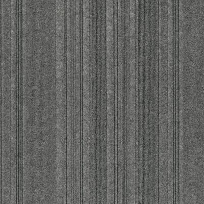 Peel and Stick First Impressions Barcode Rib Sky Grey 24 in. x 24 in. Commercial Carpet Tile (15 Tiles/Case)