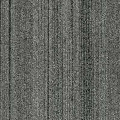 Premium Self-Stick First Impressions Barcode Rib Sky Grey Texture 24 in. x 24 in. Carpet Tile (15 Tiles/60 sq. ft./case)