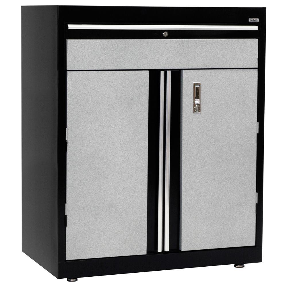 36 in. H x 18 in. D x 30 in. W Modular Steel Base Cabinet Full Pull with Drawer in Black/Multi-Granite