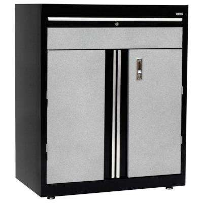 36 in. H x 18 in. D x 30 in. W Modular Steel Base Cabinet Full Pull with Drawer in Black/Multi-Granite
