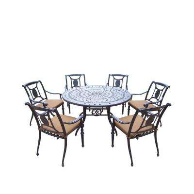 Cast Aluminum 7-Piece Round Patio Dining Set with Sunbrella Cushions
