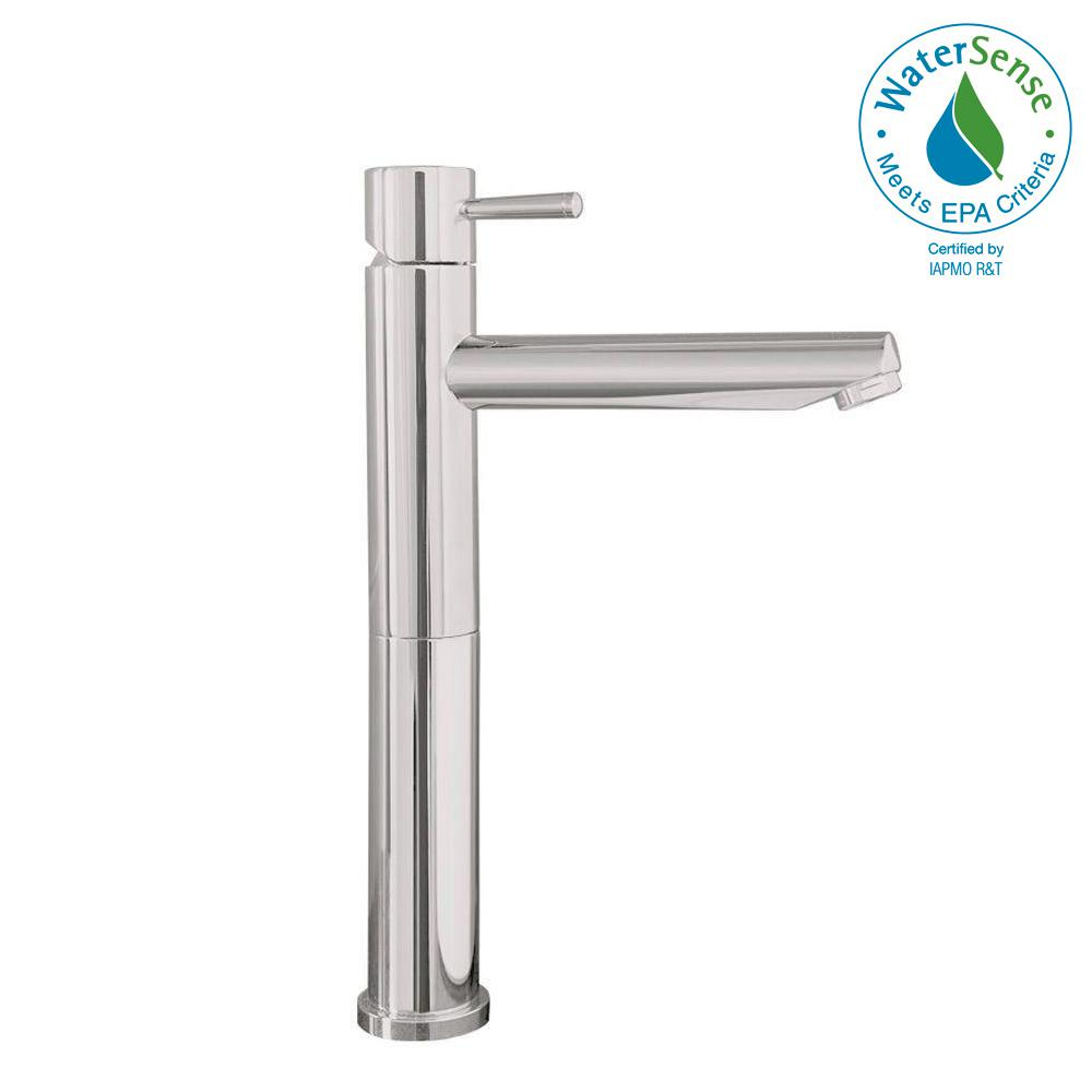 Serin Single Hole Single-Handle Mid-Arc Vessel Bathroom Faucet with Grid Drain