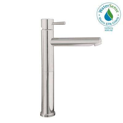 Serin Single Hole Single-Handle Mid-Arc Vessel Bathroom Faucet with Grid Drain in Brushed Nickel