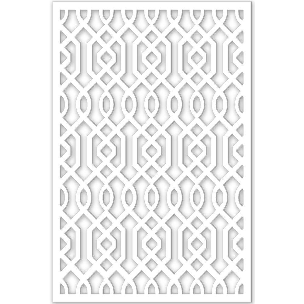 Azzaria 32 in. x 4 ft. White Vinyl Decorative Screen Panel