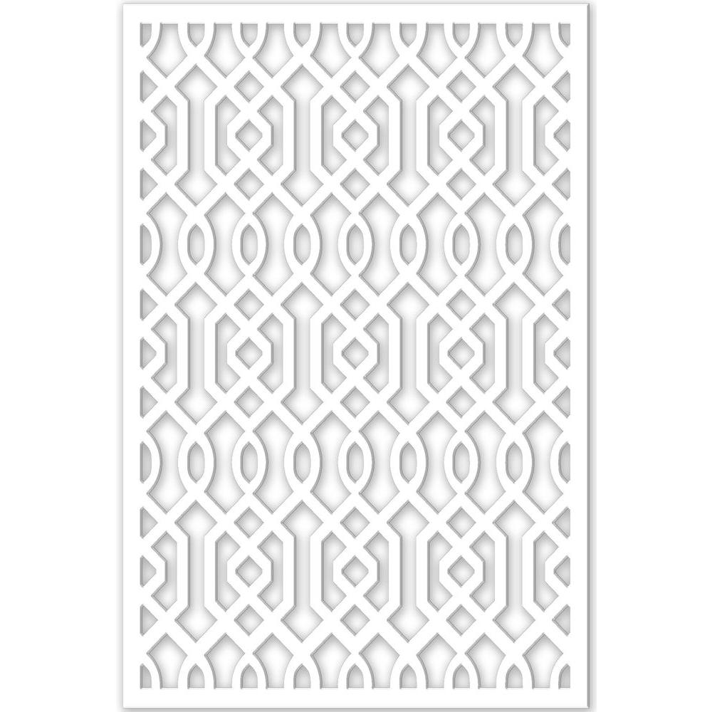 Acurio Latticeworks 1/4 in. x 32 in. x 4 ft. White Vinyl Azzaria Decor Panel