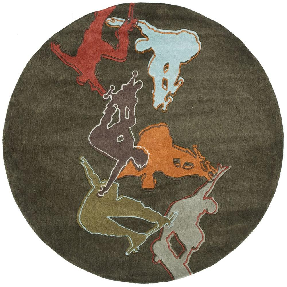 Momeni Young Buck Collection Concrete 5 ft. x 5 ft. Indoor Round Area Rug